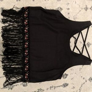 Embroidered Fringe tank top. Moving sale!!!!